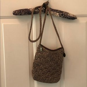 NWOT SAK brown woven crossbody with zipper close
